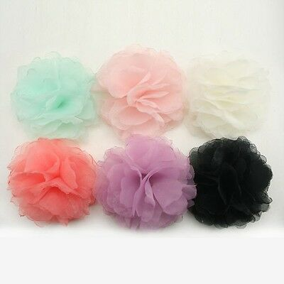 Organza Flower Appliques Millinery Trim Brooch Corsage bow Hair Accessories #15