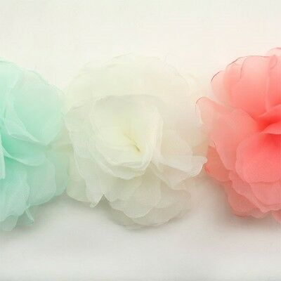 Organza Flower Appliques Millinery Trim Brooch Corsage bow Hair Accessories #16