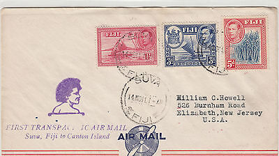 Stamp Fiji including KGV1 5d blue canes 1941 Transpacific airmail to USA, scarce
