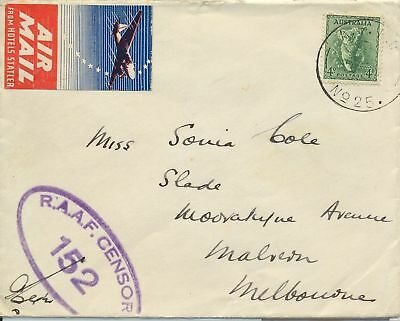 AFPO postmark of air base Coomalie Northern Territory & label plus censor cover
