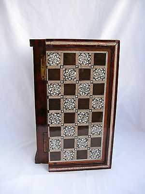 Egyptian Inlaid Mother Of Pearl Wooden Chess Backgammon Board 11.5""
