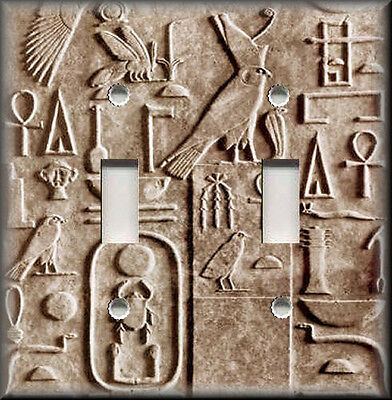 Metal Light Switch Plate Cover - Photo Image Of - Egyptian Hieroglyphics - Tan
