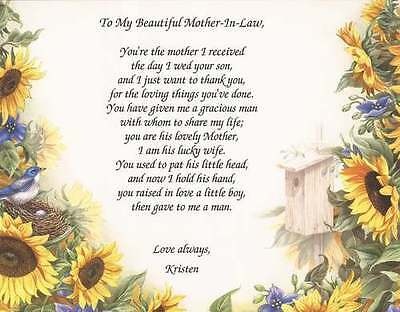 Personalized Mother In Law Poem Choose Art Mothers Day Wedding Birthday Gift