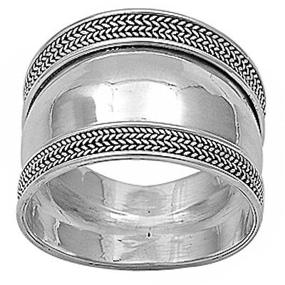 NEW BRAIDED BALI DESIGN BAND .925 Sterling Silver Ring Sizes 5-12