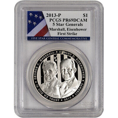 2013-P US 5-Star Generals Commem Proof Silver $1 - PCGS PR69 - First Strike Flag