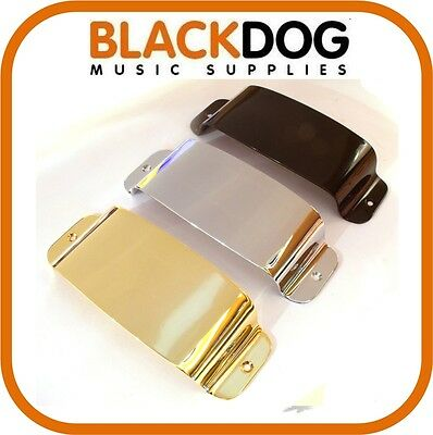 Quality pickup cover jazz bass guitar in chrome black or gold including screws.