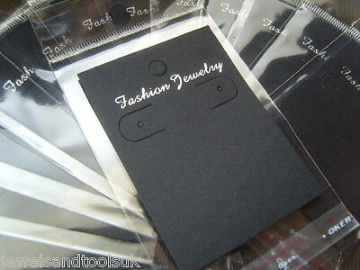 Jewellery Display Cards ~ Earring Black With Self Adhesive Bags ~ Fashion 7x5cm