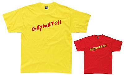 GAYWATCH Mens T-Shirt S-3XL Yellow/Red Funny Costume Lifeguard Fancy Dress