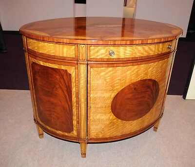 Satinwood Regency Cabinet Half Round Marqeutry Inlay Sideboard