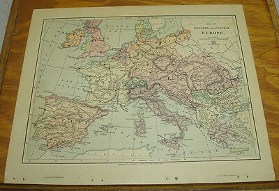 1887 Harpers Antique COLOR Map/WESTERN & CENTRAL EUROPE