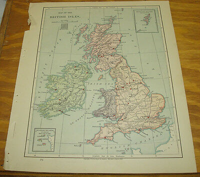 1887 Harpers Antique COLOR Map/BRITISH ISLES