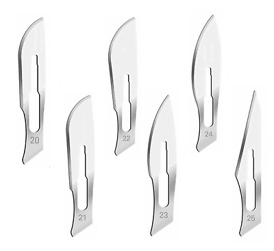 60 Surgical Sterile Scalpel Handle Blades #20 #21 #22 #23 #24#25(Fits Handle #4)