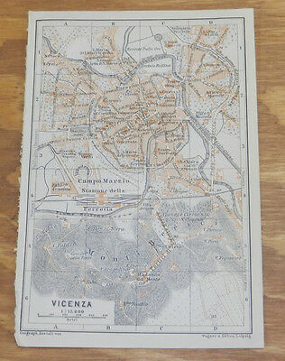 1909 Antique COLOR Road Map of VICENZA, ITALY