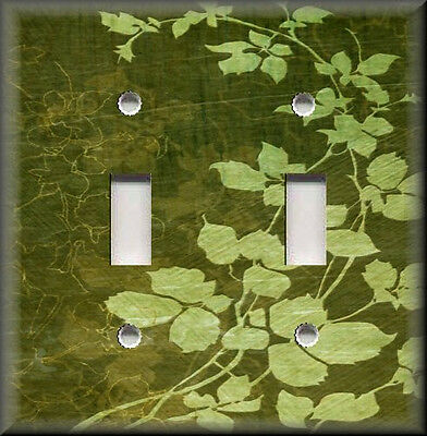 Metal Light Switch Plate Cover - Green Floral Leaves - Green Home Decor