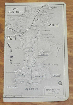c1914 Antique Road Map of CAPE D'ANTIBES PENINSULA, FRENCH RIVIERA, FRANCE