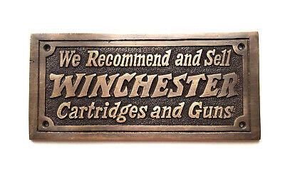 Winchester Cartridges & Guns Solid Brass Plaque With Antique Finish