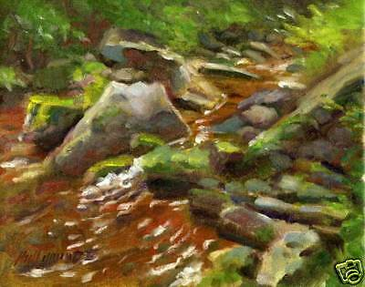 Summer Stream, Ithaca, New York 8 x10 in. Original Oil  on canvas HALL GROAT II