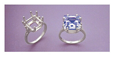 (10x10-11x11mm) Square 8-Prong Sterling Silver Pre-Notched Ring Setting Size 6-8
