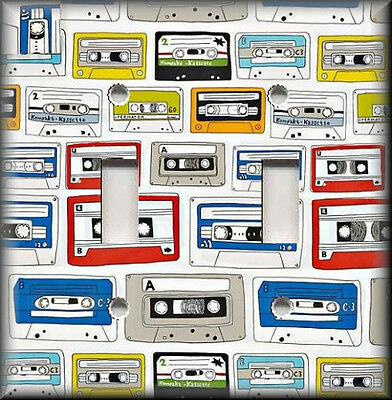 Metal Light Switch Plate Cover - Retro Music Home Decor  Cassette Tapes Music