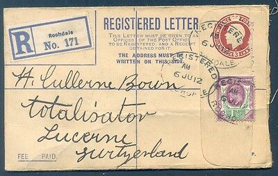 GREAT BRITAIN TO SWITZERLAND Registered Cover 1912 VF