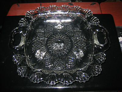 Vintage Pressed Glass Serving or Candy Dish Bowl With Handles