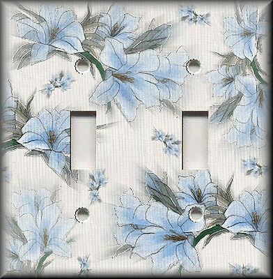 Metal Light Switch Plate Cover - Soft Blue Flowers Blue Floral Home Decor Flower