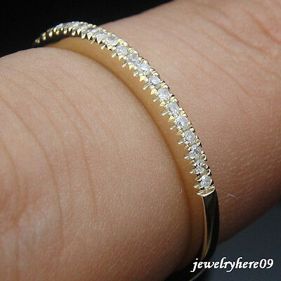 Solid 14K Yellow Engagement Wedding Anniversary Pave Diamond Real  Band Ring