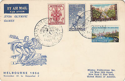 Olympic Games 1956 Melbourne Minkus USA postcard village commemorative postmark