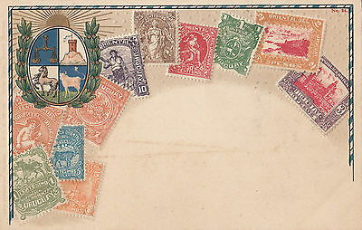 Postcard Uruguay South America Zeiher showing various old stamp issues, unused