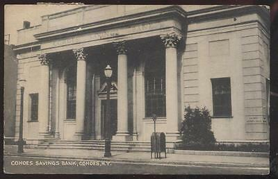 Postcard COHOES New York/NY  Savings Bank Building view 1930's