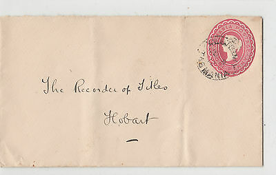 Stamp Tasmania 1d red pre-printed stationery cover E Adams Solicitor in Westbury