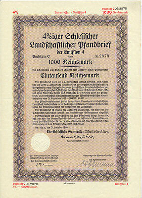 Breslau Schlesische Generallandschaftsdirektion bond of 1000 RM 1940 uncancelled