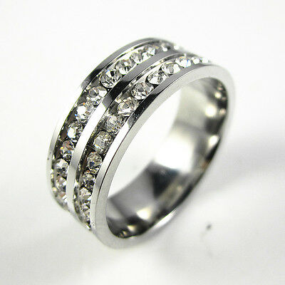 316L Stainless Steel Double Row Clear CZ Wedding 7mm Band Ring Size 5-10