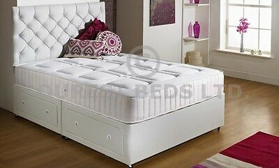 Divan Bed Memory Foam Orthopaedic Pocket Sprung Mattress White Black Brown