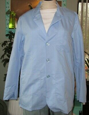 "Best Medical Wear Staff Lab Coat Scrubs Uniform 30"" Long Sleeve Light Blue XS-6X"