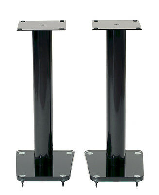 """TransDeco 24"""" High Speaker Stands Glass / Steel in Gloss Black - Pair NEW"""