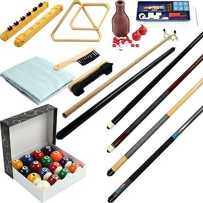 32 piece Billiards Accessories Kit for your Pool Table - Balls, Cues, Triangle