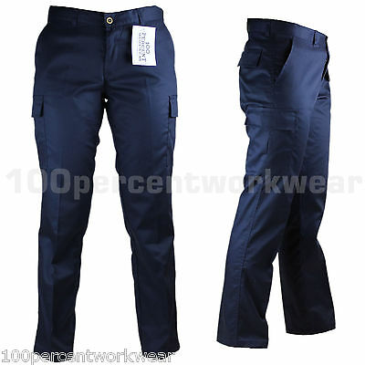Ladies Womens Work Wear Trousers Cargo Combat Action Black Navy Reg Leg UK Size