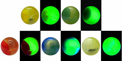 "25mm (1"") Bi-COLOUR VASELINE GLASS MARBLES - 5 COLOURS - VERY RARE AND AMAZING"