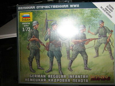 Zvezda WWII German Regular Infantry-1939-1943-1/72 Scale-SNAP FIT-FREE SHIPPING