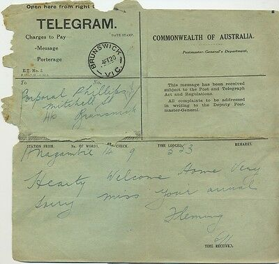 Military WW1 telegram Australia 1920 to Corporal Phillips Brunswick postmark 3R