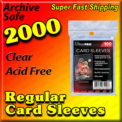 2000 Ultra Pro Soft Card Sleeves New No Pvc Penny Sleeves - Free Usa Shipping