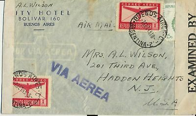 Stamps Argentina on 1943 airmail double censored CITY HOTEL cover sent to USA
