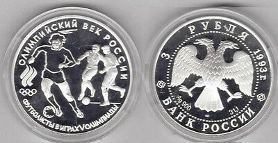 1993 Russia Large Silver 1 OZ Proof 3  Roubles Olympics Soccer