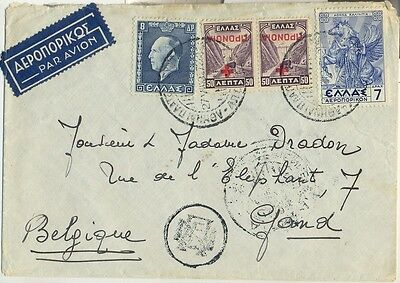 Stamps Greece 1937 on cover sent airmail to Belgium with currency mark at front
