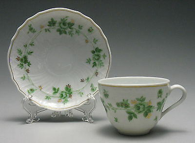 Hutschenreuther Germany Form Dresden Green Pattern Teacup & Saucer