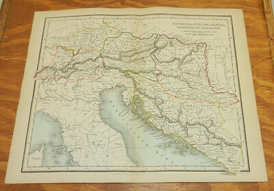 1853 Antique COLOR Map, Ancient Geography/COUNTRIES BORDERING NORTHERN ITALY
