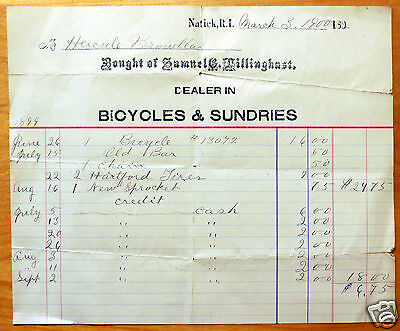 Original 1900 Bicycle Purchase Agreement/Payment History