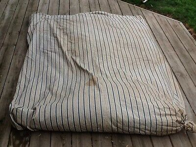 Vintage Khaki & Blue Indigo Stripe Ticking Feather Bed