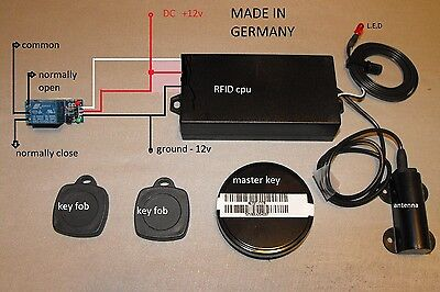 RFID Reader transponder key fob security with electronic relay circuit
